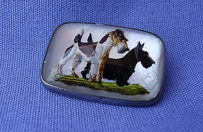 Antique Essex Crystal Wire Fox Scottish Terrier Sterling Silver Pin