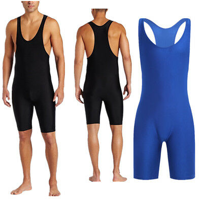 Men's One-Piece Stretch Bodysuit Leotard Tank Top Boxer Briefs Underwear Singlet