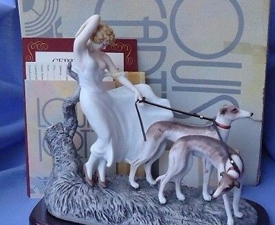 art deco ICART WHIPPET ITALIAN GREYHOUND dogs & lady figurine