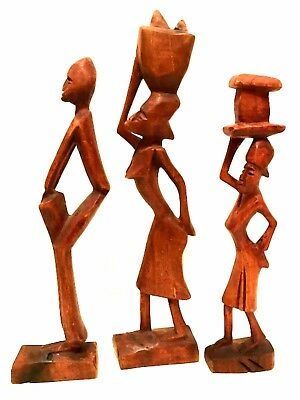 Haitian or African Wooden Figurines Hand Carved Tribal Art Sculptures 12 in Tall