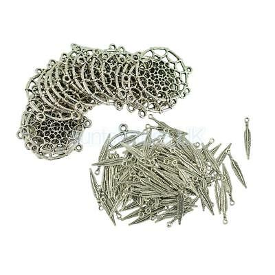 120pcs Antique Silver Feather Dream Catcher Theme Charm Set Jewelry Making