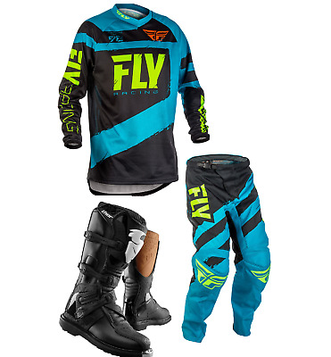 New 2018 Kids Youth Fly F16 Jersey Pant Kit & Thor Boots Blue Black Xmas Combo