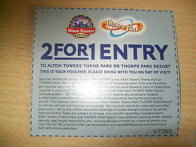 Alton Towers or Thorpe Park 2 for 1 Entry Voucher Ticket