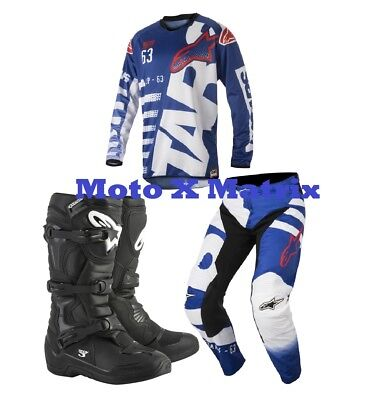 New Alpinestars Braap Combo Jersey Pants BLK Tech 3 Boot Kit Blue White Red Xmas