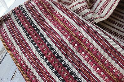 Antique Folk Art textile pillow cover sack hand woven red striped aged old red