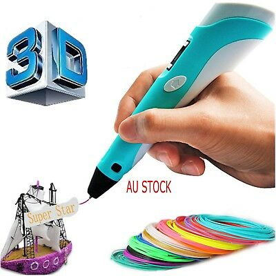3D Printing Pen Stereoscopic Doodler LCD 2nd Gneration+3 Free Filaments+AU Plug