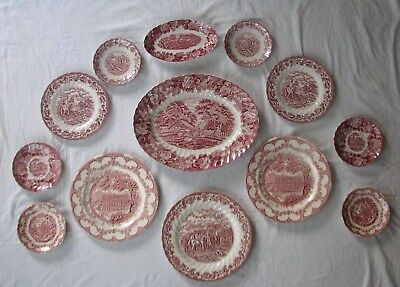13 ps red transferware COLLECTION starter instant WALL DISPLAY toile plates Wood