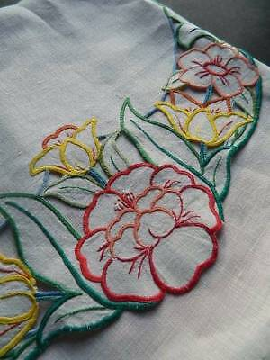 Vintage lovely Irish linen hand embroidered cushion cover - tulips & roses