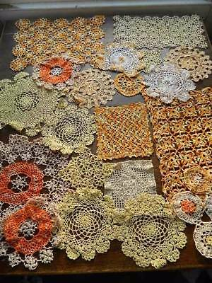 Collection of 20 vintage and antique lace doilies and mats -Oranges & Lemons