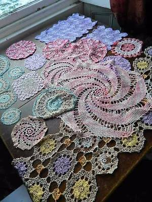 Collection of 20 vintage and antique lace doilies and mats - Pinks & Purples