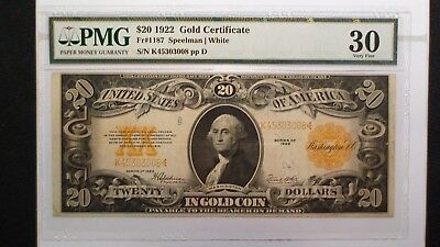 1922 Twenty Dollar LARGE GOLD CERTIFICATE PMG VF30 $20 Bill PRICED TO SELL NOW!