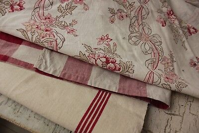 Antique French fabric vintage material PROJECT BUNDLE lovely shirting fabric