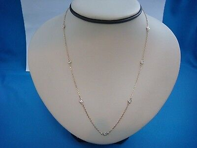 """7 Stations 0.50 Ct """"diamonds By The Yard"""" 14K Yellow Gold Necklace, 18 Inch Long"""
