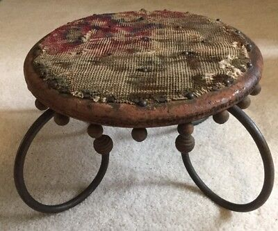 Rare Victorian Wood + Curved Cast Iron Foot Stool with Tapestry/Rug Cover