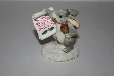 Cute Charming Tails Town Crier Christmas Mouse Figure