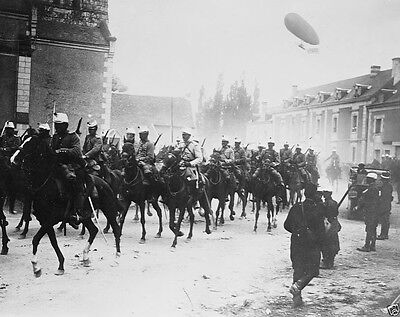 French cavalry with airship flying above 1914 World War I 8x10 Photo
