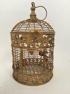 Antique Vintage Gold Painted Tole Toleware Decorative Hanging Birdcage Finches