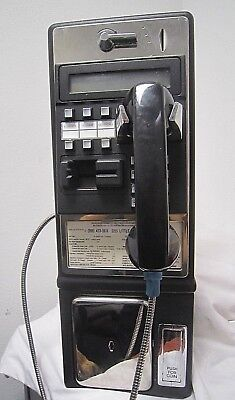Vintage PAYPHONE Pay Phone Push Button SINGLE SLOT COIN or CREDIT CARD Black *