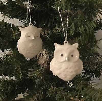 "Lot Of 6 Glittered Mini White Owl Christmas Tree Ornaments measures 1 3/4"" ea"