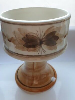 "VINTAGE JERSEY POTTERY GOBLET  VASE CREAM & BROWN Approx  5"" TALL"