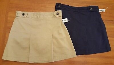 NWT Old Navy Girls Uniform Skorts SKIRT / SHORTS Khaki (Rolled Oats) / Navy Blue