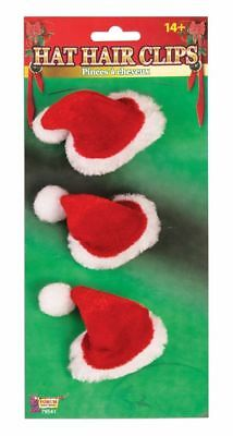 Funny MINI SANTA HAT HAIR CLIPS On 3 Christmas Dog Joke Gag Gift Ornaments
