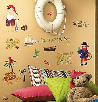 TREASURE HUNT 45 Pirate Wall Stickers Room DECOR MAP Chest Ship ...