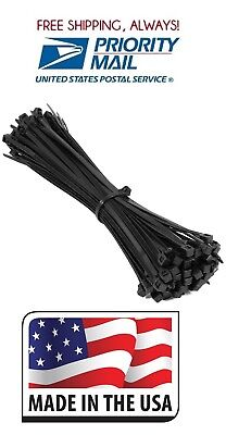 "(300) 11"" Long Black 50 Lb Heavy Duty Uv Resist Cable Zip Ties Wrap Made In Usa"