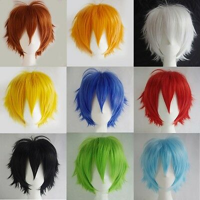 Unisex Boy's Girl's Straight Short Hair Wig Cosplay Party Anime Full Wigs#