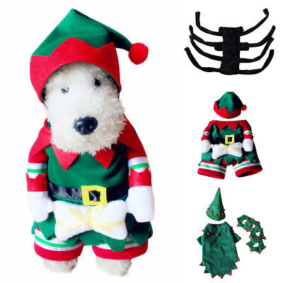 Pet Dog Cat Clown Elf SPider Xmas Costume Outfit Jumpsuit Clothes For Christmas