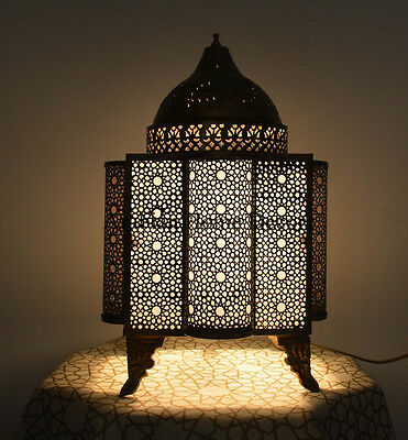 Handcrafted Egyptian Moroccan Bronze Oxidize Brass Table Lamp Light