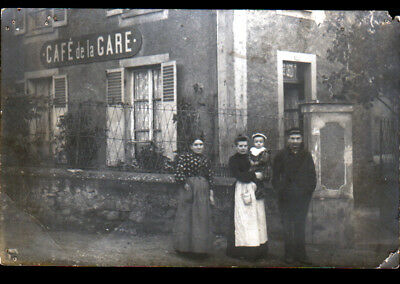 Devanture Commerce CAFE DE LA GARE animé début 1900 / Carte-photo postale
