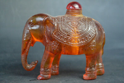 Collectible Resin Amber Handwork elephant Statue Exquisite China Snuff Bottle