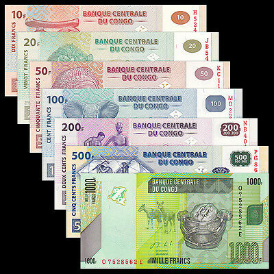 Congo Democratic Republic 7 PCS Set (10+20+50+100+200+500+1000 Francs), UNC