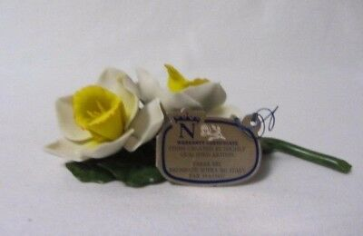 Fabar Capodimonte Porcelain Double Cream Yellow Center Flowers Mib With Tags
