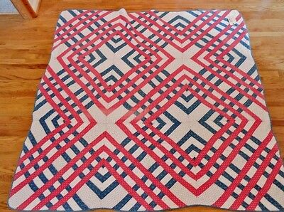 Antique Patchwork Quilt  Red, White, Blue CARPENTERS SQUARE Pattern Ca 1880 VGC