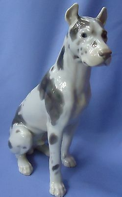 "12""  Harlequin Great Dane Sitting Bing Grondahl Denmark Dog"