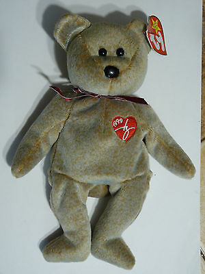 Ty Beanie Babies Original Signature Bear With Errors Hang Tag Rare Retired
