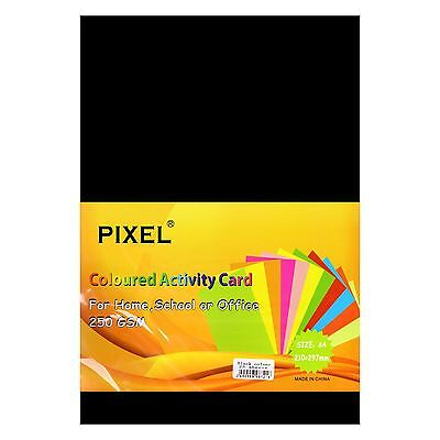 Pixel® A4 Card for Home, School, Office (Black - 250GSM - 25 Sheets)