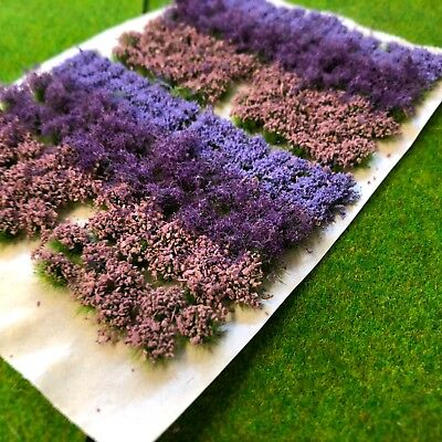 Lavender Flowers & Bushes Mix -Static Grass Tuft Model Scenery Railway Forest