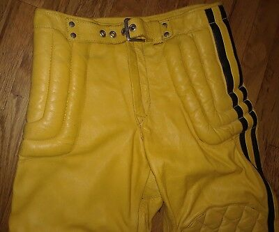 Vintage 70's Leather Mens Pants Motocross Motorcycle size 28 CYCLE PARTS GOOD ST