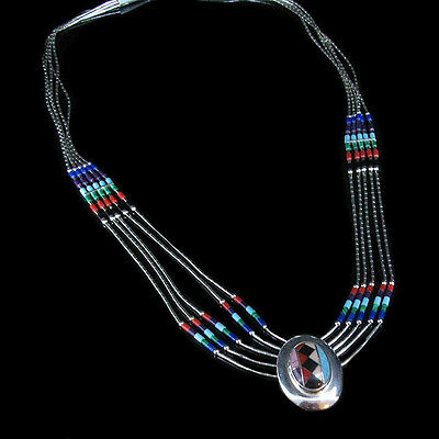 VINTAGE 5 Strand .925 Liquid Sterling Silver Turquoise Red Coral Necklace