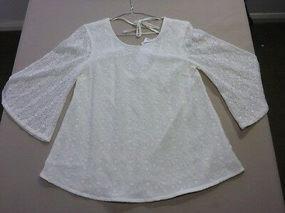 087 Womens Ex-Cond Wrangler 'Stevie Blouse' Vintage White Lace Blouse 8 $90 Rrp.