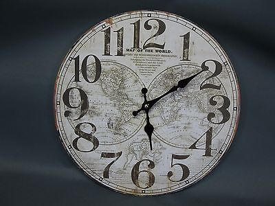 Large Wall Clock 34 cm Nostalgic Clock Antique Style Old World Map Globe