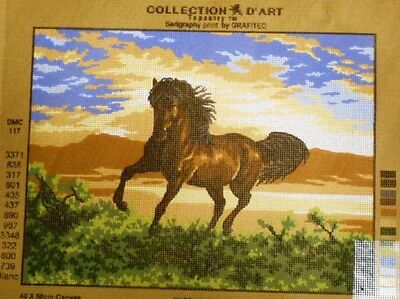BROWN HORSE GALLOPING - Tapestry Canvas (New) by GRAFITEC