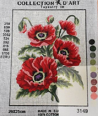 4 RED POPPIES - Tapestry to Stitch (NEW) by COLLECTION D'ART