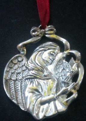 Gorham Silver Angel Ornament Dove Burgundy Ribbon NEW Free Shipping in U.S.