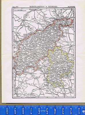 1907 NORTHAMPTON & BEDFORD England - Antique Country MAP + BONUS