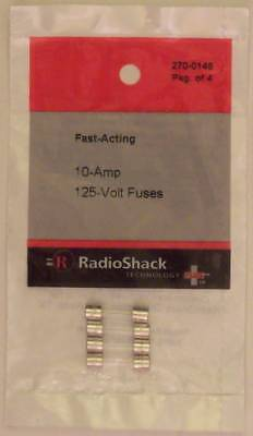 Fast-Acting 10-Amp 125-Volt GMA Glass Fuses 5 x 20mm 10A 125V 4/PK