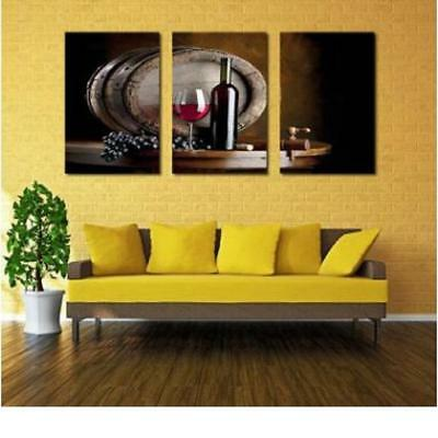 3Pcs Canvas Home Decor Wall Red Wine Art Painting Picture Abstract 35x50cm